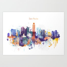 Colorful San Paulo skyline design Art Print