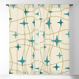 Mid Century Modern Cosmic Star Pattern 693 Cream Turquoise Olive Blackout Curtain