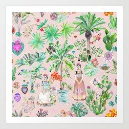 Frida Kahlo Botanics - Pink Art Print