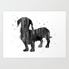 Dachshund, Dachshund dog, watercolor Dachshund Art Print