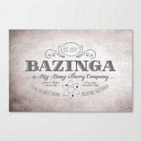 bazinga Canvas Prints featuring Bazinga Vintage by Nxolab