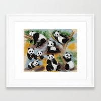 pandas Framed Art Prints featuring Pandas by Helene Michau