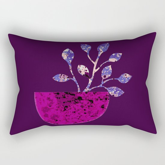 pot and branch on purple Rectangular Pillow