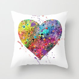 Heart Watercolor Art Print Love Home Decor Valentine's Day Wedding or Engagement Gift Throw Pillow