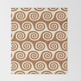 Mid Century Modern Wave Pattern Brown & Beige Throw Blanket