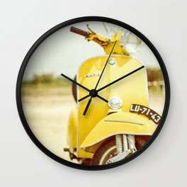 Yellow Scooter #vespaprint #italyphoto #travel #modstyle #yellowmustard Wall Clock