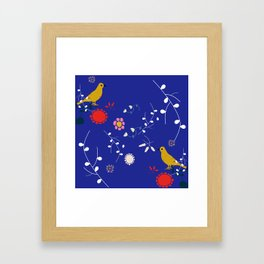 Bird and blossom electric blue Framed Art Print