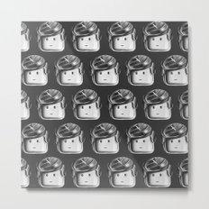 Minifigure Pattern - Dark Grey Metal Print