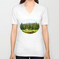 forrest V-neck T-shirts featuring Forest Green by IvanaW