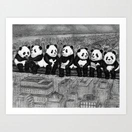 Panda Lunch Atop a Skyscraper - charcoal drawing Art Print