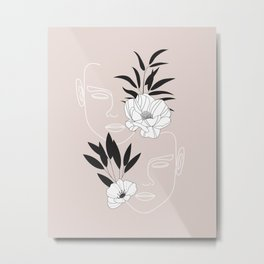 Two Faces Floral Metal Print