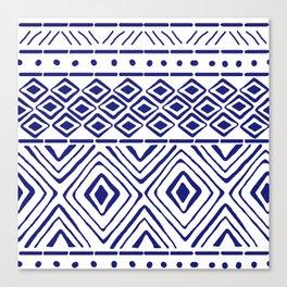 African Mud Cloth // Blue Canvas Print