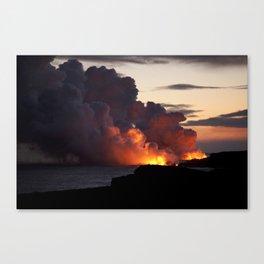 Lava Vaporizes Ocean Canvas Print