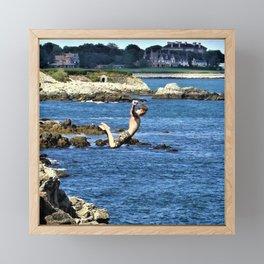 Falling Man - Cliff Diving along Newport Cliff Walk, Rhode Island color photography / photographs Framed Mini Art Print