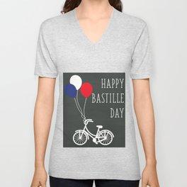 Balloon high upon the air - Bastille Day Unisex V-Neck