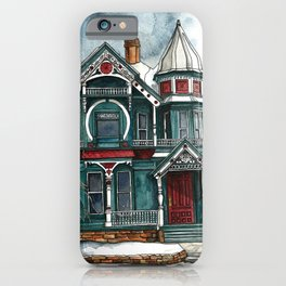 Blue House on a Grey Day iPhone Case
