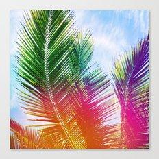 Neon Rainbow palm Canvas Print
