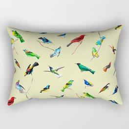 Yellow Birds Motif Rectangular Pillow