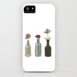 Flowers in Glass Bottles . Pastel Colors iPhone Case
