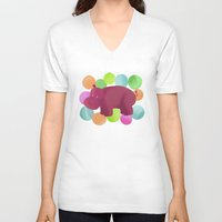 hippo V-neck T-shirts featuring Hippo by Katy Welte