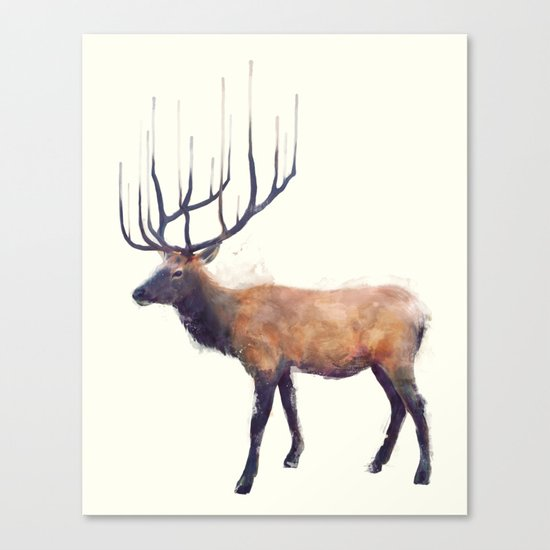 Elk // Reflect (Left) Canvas Print