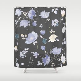 Spring watercolor flowers on Grey background Shower Curtain