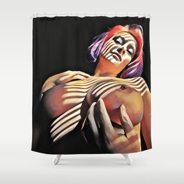 2376s-JG Jessica Striped in Light, Beautiful Big Bare Breasts Shower Curtain