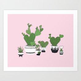 Cactus Love (in pink) Art Print