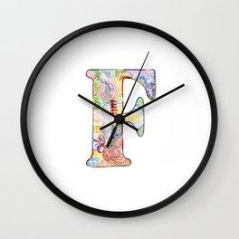 Letter F - Watercolor Monogram - Colorful Lettering - Watercolor Letter Print - Watercolor Initial Wall Clock