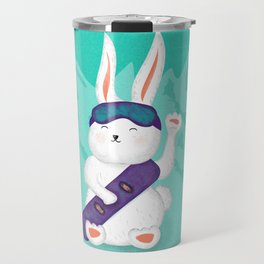 Manekineko bunny goes snowboarding Travel Mug