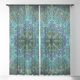 Kaleidoscope fantasy on lighted peacock shape Sheer Curtain