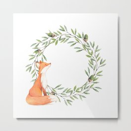 Cute Fox Looking at Acorns Metal Print