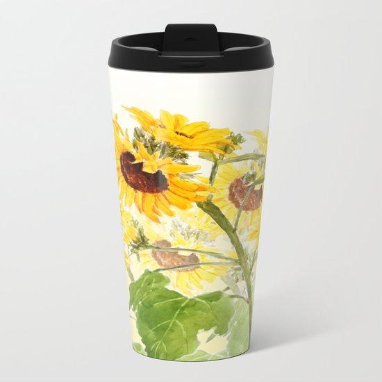 One sunflower watercolor arts Metal Travel Mug