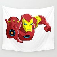 iron man Wall Tapestries featuring Iron Man by Krazy Squirrel