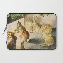 Bunnies roasting apples over an open fire Laptop Sleeve