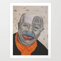 dad Art Prints featuring dad by ferzan aktas