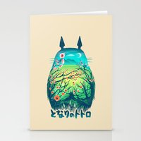 anime Stationery Cards featuring He Is My Neighbor by Victor Vercesi