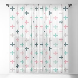 SWISS CROSSES - BLUSH PINK and MINT Sheer Curtain