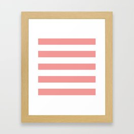 Peach Burst - solid color - white stripes pattern Framed Art Print