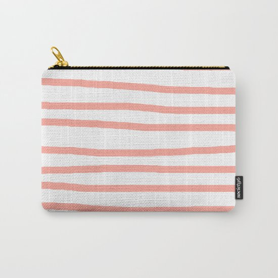Simply Drawn Stripes Salmon Pink on White Carry-All Pouch