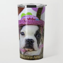 English Bulldog Puppy Wearing a Pink Straw Hat Sitting in a Basket in front of Rainbow Hearts Travel Mug
