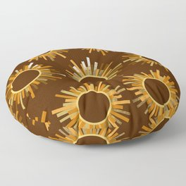 Art Deco Starburst in Brown Floor Pillow