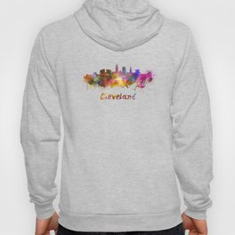 Cleveland skyline in watercolor Hoody