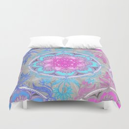 Pink, Purple and Turquoise Super Boho Doodle Medallions Duvet Cover