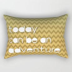 Today Can Be An Adventure Poster Teal Yellow Chevron Rectangular Pillow