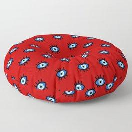 Evil Eye on Red Floor Pillow