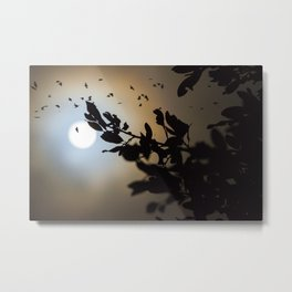 Bats in a Full Moon on Halloween Metal Print