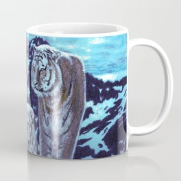 Two bengal tigers in a snowed mountain Coffee Mug
