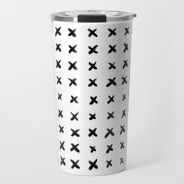 Black and White Criss-cross Pattern Travel Mug