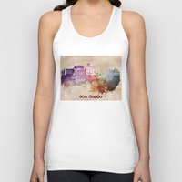 las vegas Tank Tops featuring Las Vegas skyline art by jbjart